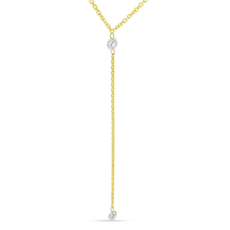 "Color Merchants 14K White Gold Chain Lariat Y Diamond Necklace with 18"" Chain"