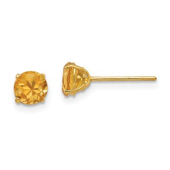 14k Madi K Round Citrine 5mm Post Earrings