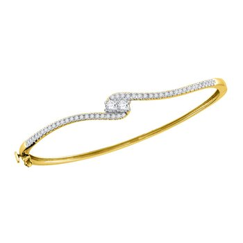 14kt Yellow Gold Womens Round Diamond 2-stone Bypass Bangle Bracelet 3/4 Cttw