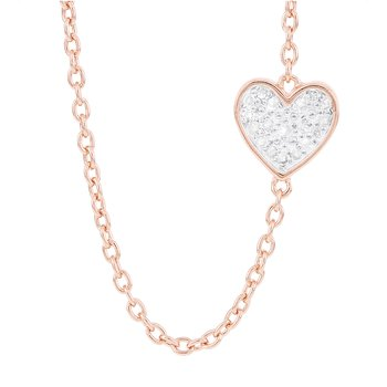 Rose-plated Sterling Silver 1/10ct Diamond Sideways Heart Necklace