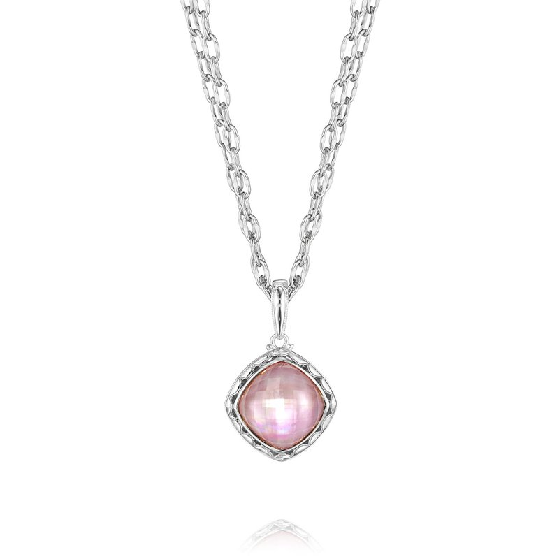 Tacori Cushion Cut Rose Amethyst over Mother of Pearl Pendant Necklace