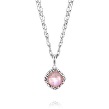 Cushion Cut Rose Amethyst over Mother of Pearl Pendant Necklace
