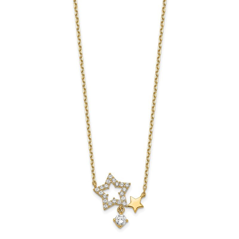Quality Gold 14K Stars CZ Dangle with 2IN EXT Necklace