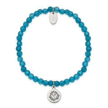 Stainless Steel Polished Lotus Blue Jade Beaded Stretch Bracelet