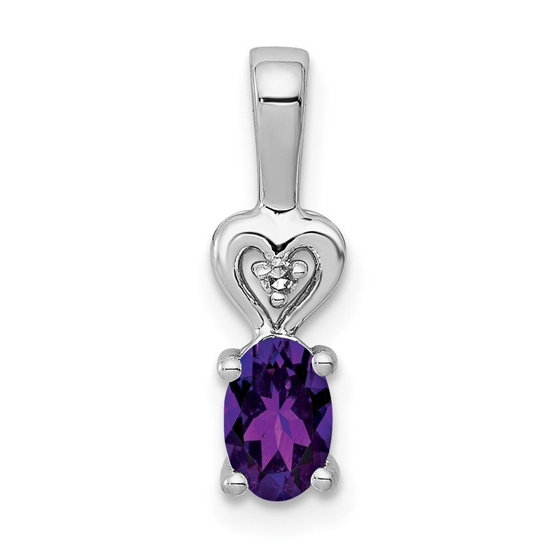 Quality Gold Sterling Silver Rhodium-plated Amethyst & Diam. Pendant