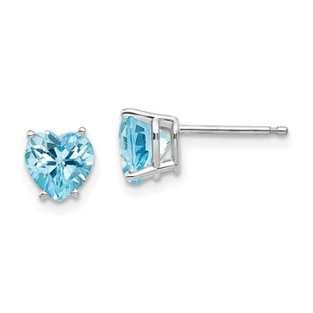 14k White Gold 6mm Heart Blue Topaz Earrings