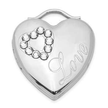 Sterling Silver Rhodium-plated 24mm Swarovski Crystal Heart Locket