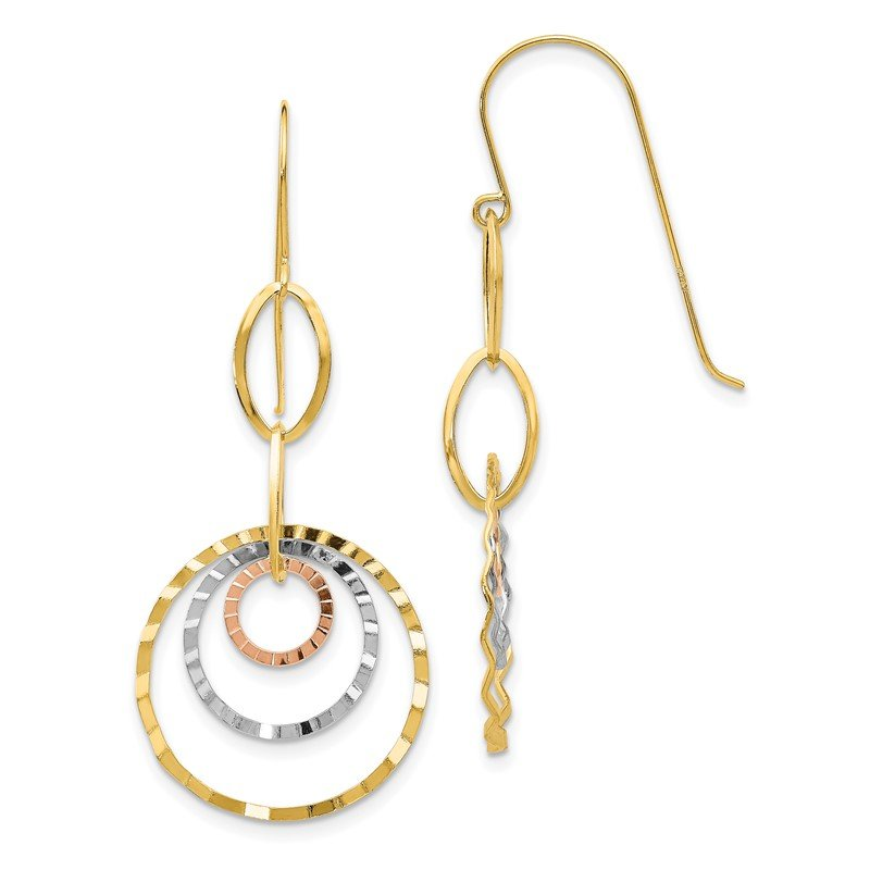 Quality Gold 14K Tri-color Textured Circle Dangle Earrings