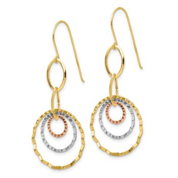 14K Tri-color Textured Circle Dangle Earrings