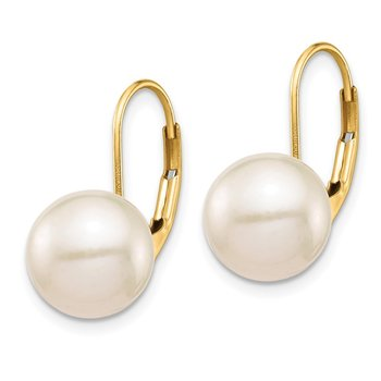 14K 9-10mm White Round Freshwater Cultured Pearl Leverback Earrings