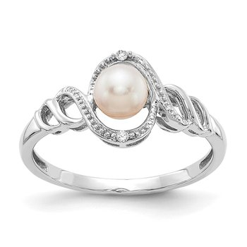 10k White Gold FW Cultured Pearl and Diamond Ring