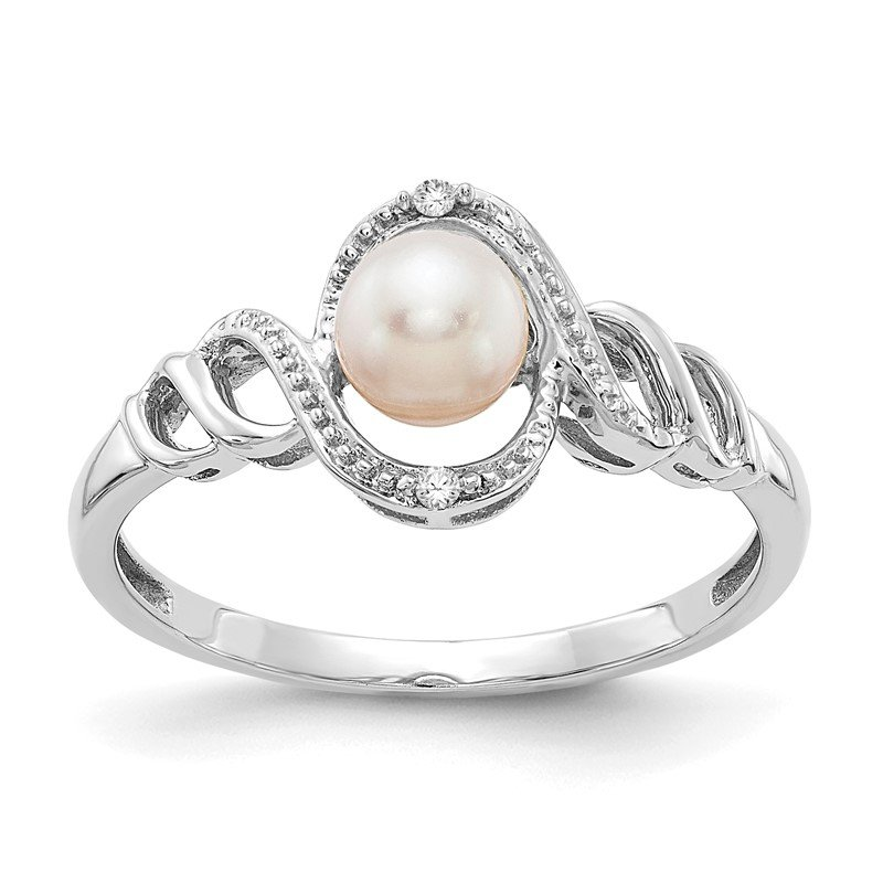 JC Sipe Essentials 10k White Gold FW Cultured Pearl and Diamond Ring