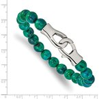 Chisel Stainless Steel Polished Green Spot Stone Beaded 9in Bracelet