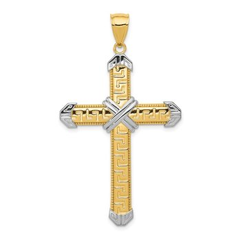14K And Rhodium Greek Key Cross Pendant