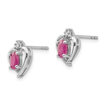 14k White Gold Ruby and Diamond Heart Post Earrings