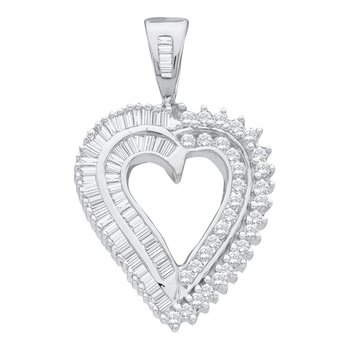 14kt White Gold Womens Round Diamond Heart Love Pendant 7/8 Cttw