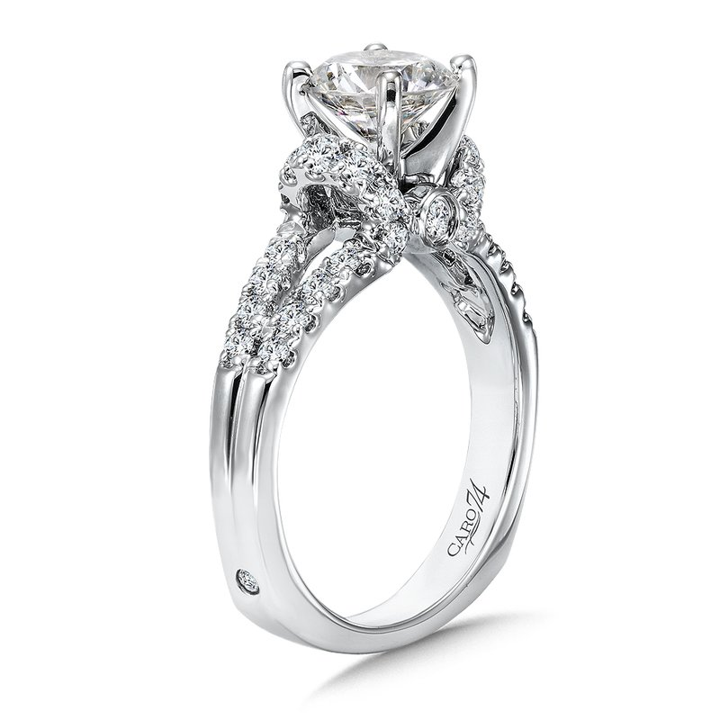 Caro74 Modernistic Collection Diamond Split Shank Engagement Ring in 14K White Gold with Platinum Head (1-1/4ct. tw.)