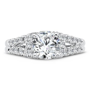 Modernistic Collection Diamond Split Shank Engagement Ring in 14K White Gold with Platinum Head (1-1/4ct. tw.)