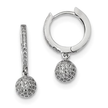 SS Rhodium-Plated CZ Brilliant Embers Polished Earrings