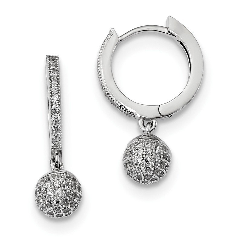 Quality Gold Sterling Silver & CZ Brilliant Embers Rhodium Polished Earrings