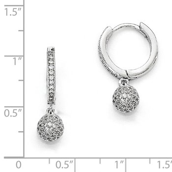 Sterling Silver & CZ Brilliant Embers Rhodium Polished Earrings