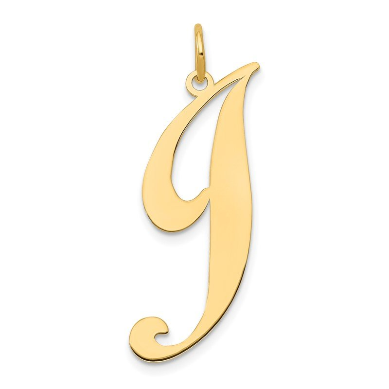 Quality Gold 14k Large Fancy Script Letter J Initial Charm
