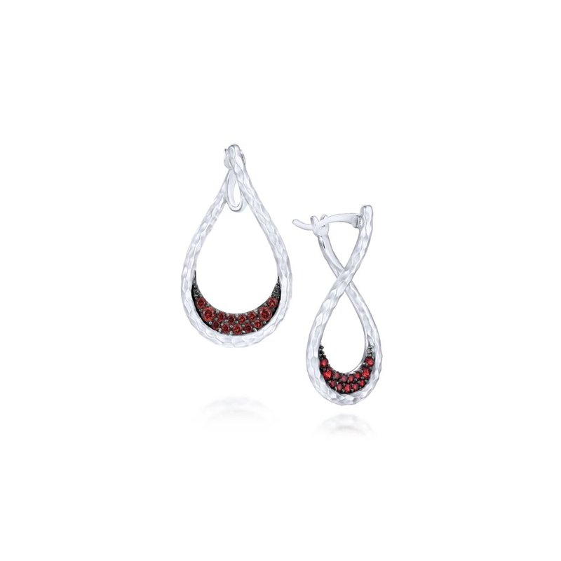 Gabriel Fashion 925 Sterling Silver Garnet Bypass Pear Shaped Hoop Earrings