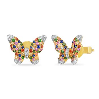 14K BUTTERFLY EARRINGS WITH 84 FANCY SAPPHIRES 0.63CT & 30 DIAMONDS 0.14CT
