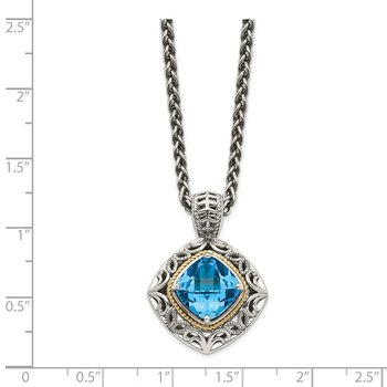 Sterling Silver w/14k Blue Topaz Necklace