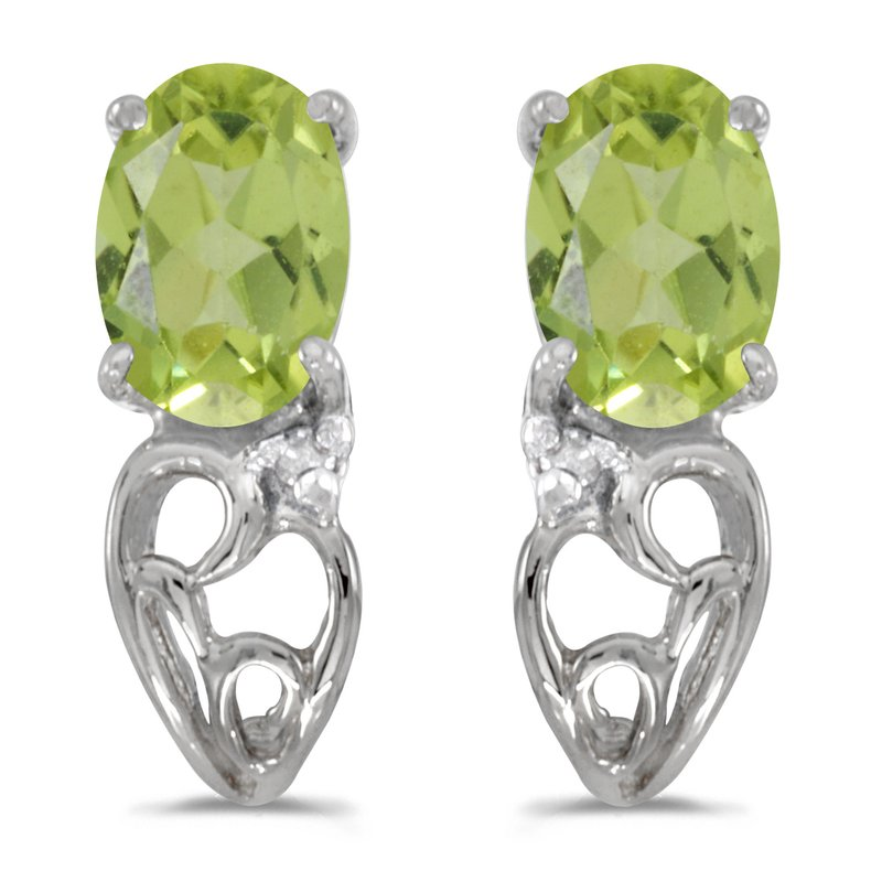 Color Merchants 14k White Gold Oval Peridot And Diamond Earrings