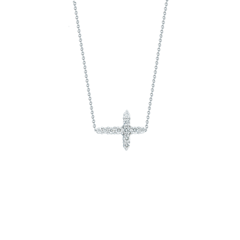 18Kt Gold Diamond Integrated Cross Neckalce
