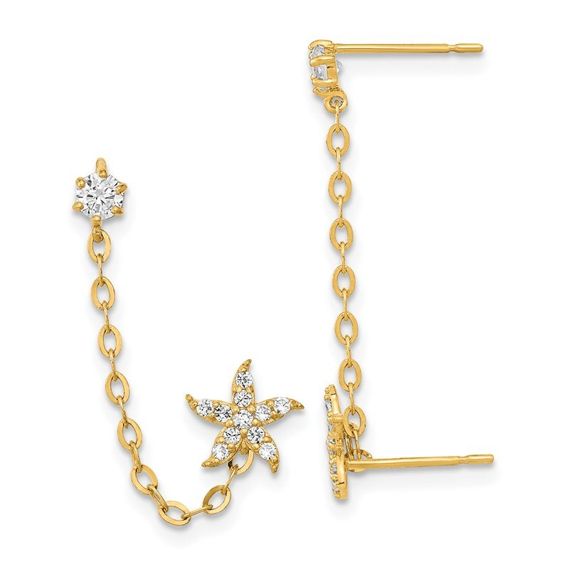 Quality Gold 14k Madi K CZ Double Post w/Chain Starfish Earring