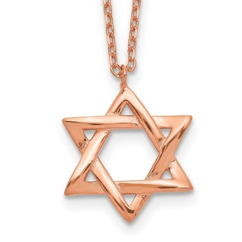 Sterling Silver Rose-tone Star of David w/ 1in ext. Necklace