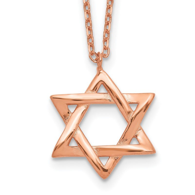 Quality Gold Sterling Silver Rose-tone Star of David w/ 1in ext. Necklace