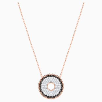 Lollypop Necklace, Black, Rose-gold tone plated