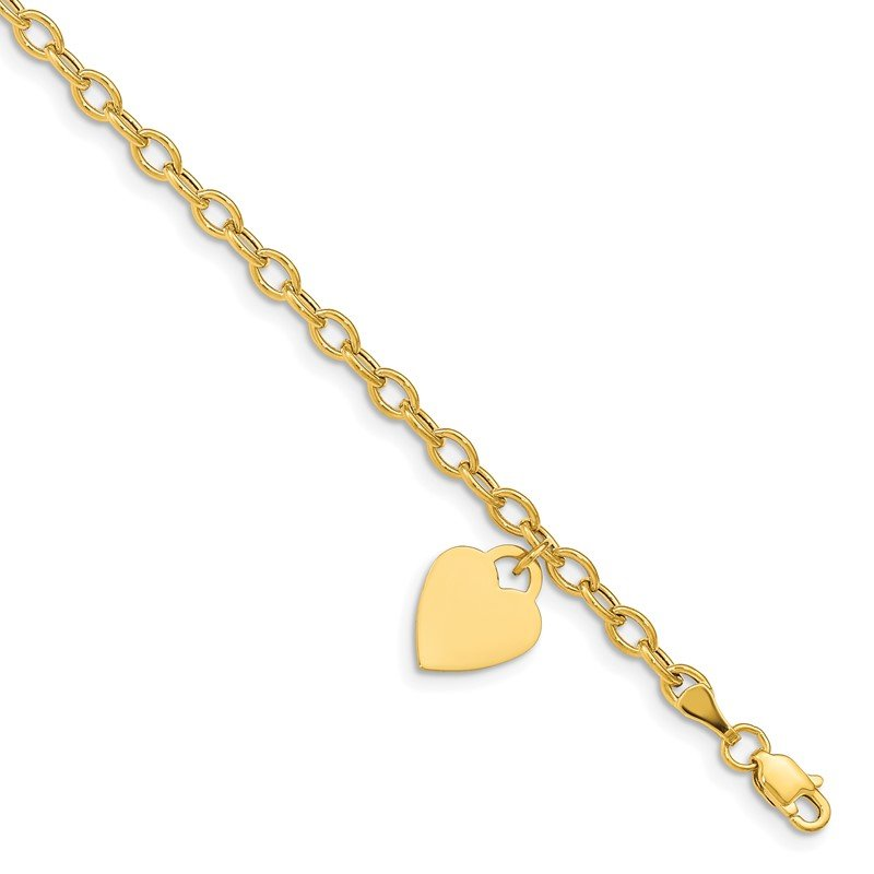 Quality Gold 14k Dangle Heart Bracelet