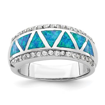 Sterling Silver Rhodium-plated Triangle Lab Created Blue Opal & CZ Ring