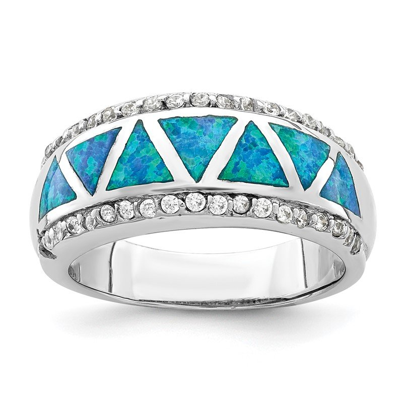 Quality Gold Sterling Silver Rhodium-plated Triangle Lab Created Blue Opal & CZ Ring