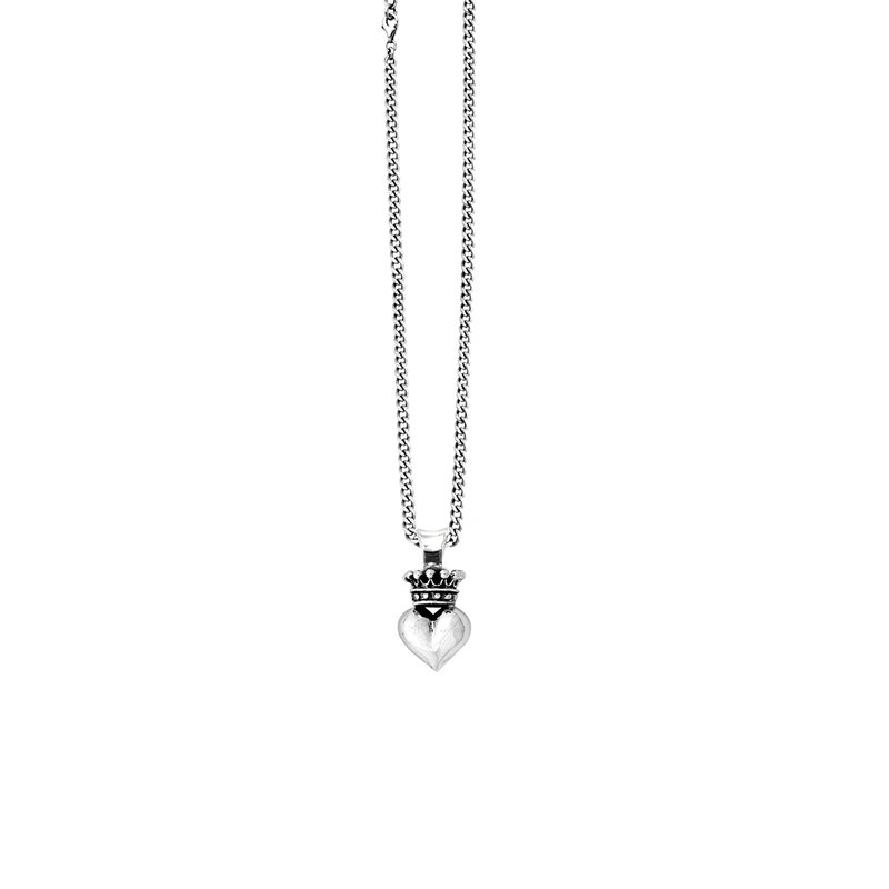 King Baby 3D Crowned Heart Pendant On Curb Link Chain