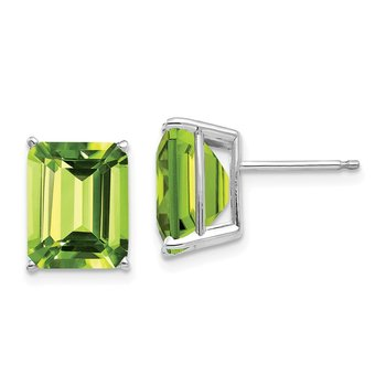 14k White Gold 10x8mm Emerald Cut Peridot Earrings