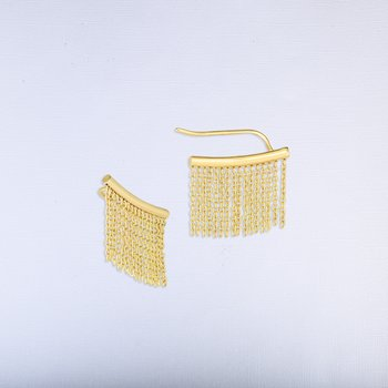14K Gold Fringe Chain Ear Climbers