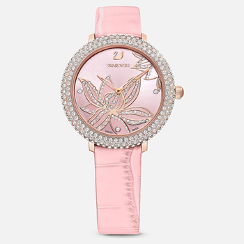 Crystal Frost Watch, Leather strap, Pink, Rose-gold tone PVD