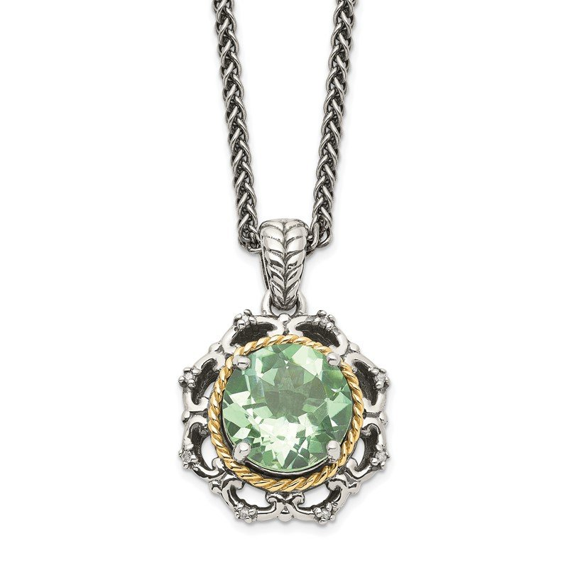 Quality Gold Sterling Silver w/14k Antiqued Green Quartz and Diamond Necklace