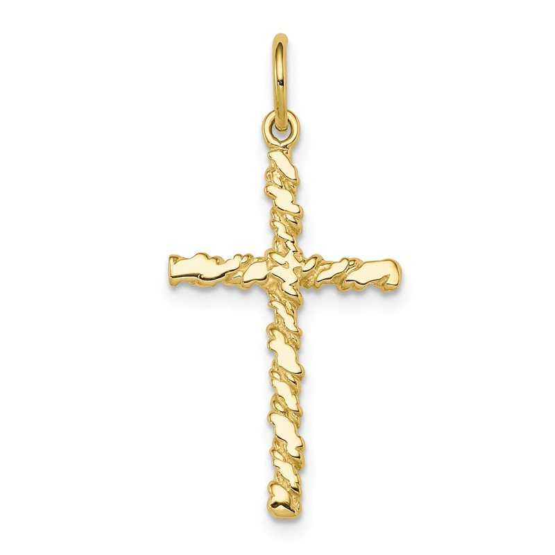 Quality Gold 10K Nugget Cross Charm