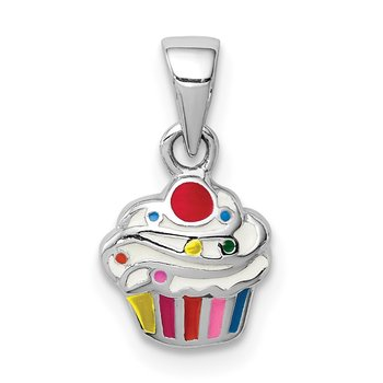 Sterling Silver Rhodium-plated Childs Enameled Cupcake Pendant