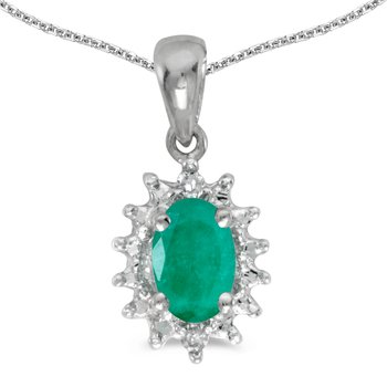 10k White Gold Oval Emerald And Diamond Pendant