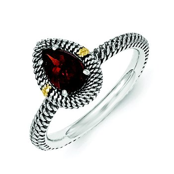 Sterling Silver w/14ky Garnet Pear Shaped Ring
