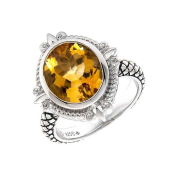 Sterling Silver Fleur de Lis Design Citrine Ring