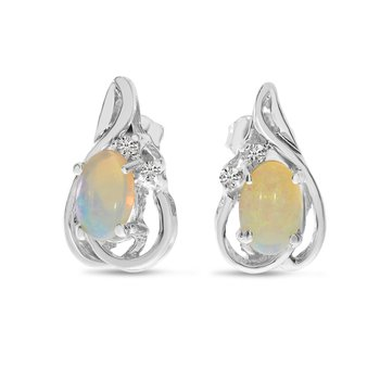 10k White Gold Oval Opal And Diamond Teardrop Earrings