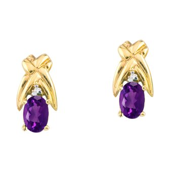 14k Yellow Gold 6x4 mm Amethyst and Diamond Oval Shaped Earrings